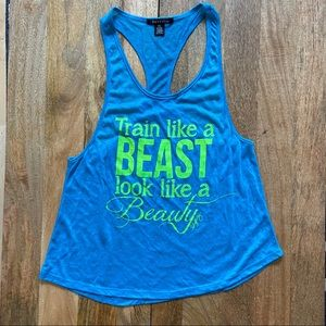 Blogilates Blue burnout tank size small